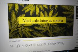 Med anledning av corona går vi över till digital undervisning
