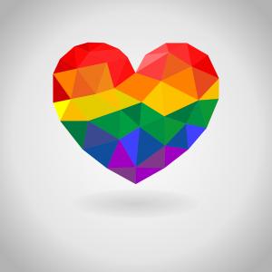 Ett hjärta i Pride-färgerna
